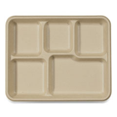 World Centric® Fiber Trays, School Tray with Five-Compartments, 10.5 x 8.5 x 1, Natural, 400/Carton