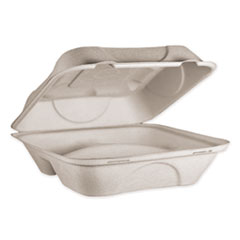 World Centric® Fiber Hinged Containers, 3 Compartments, 9 x 9 x 3, Natural, 300/Carton