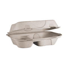 World Centric® Fiber Hinged Hoagie Box Containers, 2 Compartments, 9 x 6 x 3, Natural, 500/Carton