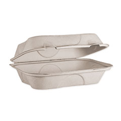 World Centric® Fiber Hinged Hoagie Box Containers, 9 x 6 x 3, Natural, 500/Carton
