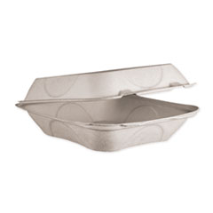 World Centric® Fiber Hinged Containers, 8 x 8 x 3, Natural, 300/Carton
