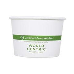 "World Centric® Paper Bowls, 4.4"" dia x 3"", 16 oz, White, 500/Carton"