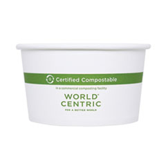 "World Centric® Paper Bowls, 4.5"" dia x 2.5"", 12 oz, White, 500/Carton"