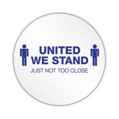 "deflecto® Personal Spacing Discs, United We Stand, 20"" dia, White/Blue, 50/Carton"