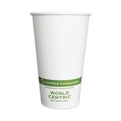 World Centric® Paper Hot Cups, 16 oz, White, 1,000/Carton