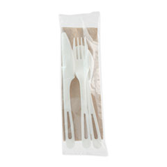 "World Centric® TPLA Compostable Cutlery, Knife/Fork/Spoon/Napkin, 6"", White, 250/Carton"