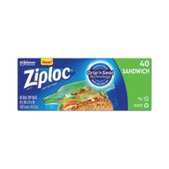 "Ziploc® Resealable Sandwich Bags, 1.2 mil, 6.5"" x 5.88"", Clear, 40/Box"
