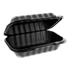 Pactiv EarthChoice SmartLock Microwavable Hinged Lid Containers, 9 x 6 x 3.25, Black, 270/Carton