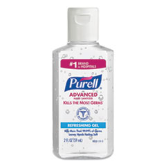 PURELL® Advanced Gel Hand Sanitizer, Refreshing Scent, 2 oz Flip Cap Bottle, 24/Carton