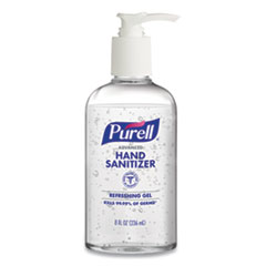 PURELL® Advanced Gel Hand Sanitizer, Refreshing Scent, 8 oz Pump Bottle, 12/Carton