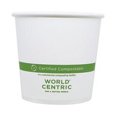 "World Centric® Paper Bowls, 24 oz, 4.4"" Diameter x 4.4""h, White, 500/Carton"