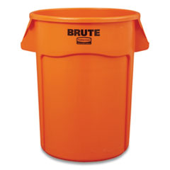 Rubbermaid® Commercial Brute Round Containers, 32 gal, Orange