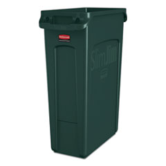 Rubbermaid® Commercial Slim Jim Receptacle with Venting Channels, Rectangular, Plastic, 23 gal, Dark Green