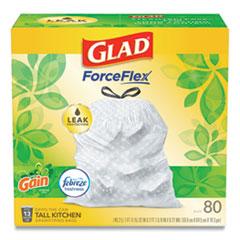 "Glad® OdorShield Tall Kitchen Drawstring Bags, 13 gal, 0.95 mil, 24"" x 27.38"", White, 240/Carton"