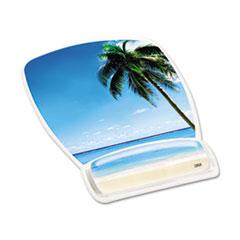 3M™ Fun Design Clear Gel Mouse Pad Wrist Rest, 6 4/5 x 8 3/5 x 3/4, Beach Design