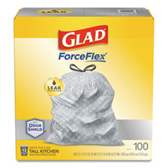 "Glad® ForceFlexPlus Tall Kitchen Drawstring Trash Bags, 13 gal, 0.72 mil, 23.75"" x 24.88"", Gray, 100/Box"