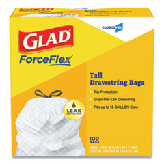 "Glad® Tall Kitchen Drawstring Trash Bags, 13 gal, 0.72 mil, 24"" x 27.38"", Gray, 100/Box"