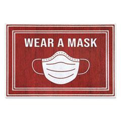 "Apache Mills® Message Floor Mats, 24 x 36, Red/White, ""Wear A Mask"""