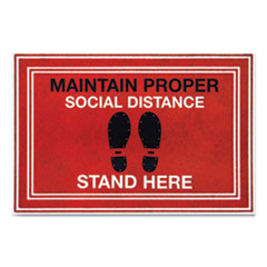 "Apache Mills® Message Floor Mats, 24 x 36, Red/Black, ""Maintain Social Distance Stand Here"""