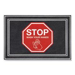 "Apache Mills® Message Floor Mats, 24 x 36, Charcoal/Red, ""Stop Wash Your Hands"""