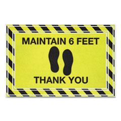 "Apache Mills® Message Floor Mats, 24 x 36, Black/Yellow, ""Maintain 6 Feet Thank You"""
