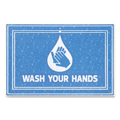 "Apache Mills® Message Floor Mats, 24 x 36, Blue, ""Wash Your Hands"""