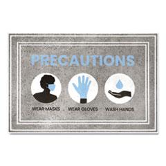 "Apache Mills® Message Floor Mats, 24 x 36, Gray/Blue, ""Precautions Wear Masks Wear Gloves Wash Hands"""