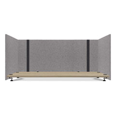 Lumeah Adjustable Desk Screen with Returns, 48 to 78 x 29 x 26.5, Polyester, Gray