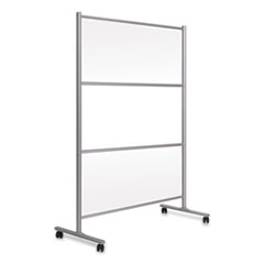 MasterVision® Protector Series Mobile Glass Panel Divider, 68.5 x 22 x 50, Clear/Aluminum