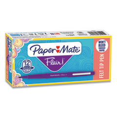 Paper Mate® Point Guard Flair Felt Tip Porous Point Pen, Stick, Medium 0.7 mm, Purple Ink, Purple Barrel, Dozen