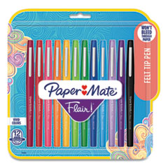 Paper Mate® Point Guard Flair Felt Tip Porous Point Pen, Stick, Medium 0.7 mm, Assorted Ink and Barrel Colors, 12/Pack