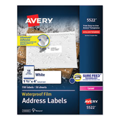 Avery® Waterproof Address Labels with TrueBlock and Sure Feed, Laser Printers, 1.33 x 4, White, 14/Sheet, 50 Sheets/Pack
