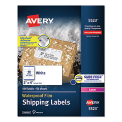Waterproof Shipping Labels with TrueBlock and Sure Feed, Laser Printers, 2 x 4, White, 10/Sheet, 50 Sheets/Pack