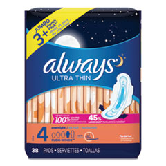 Always® Ultra Thin Overnight Pads with Wings