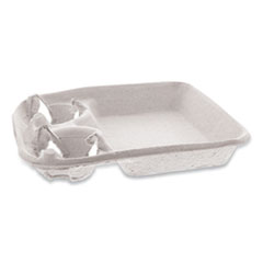 Pactiv EarthChoice Two-Cup Carrier with Food Tray, 8-24 oz, Two Cups, 200/Carton