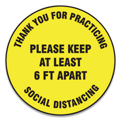 "Accuform® Slip-Gard Floor Signs, 17"" Circle,""Thank You For Practicing Social Distancing Please Keep At Least 6 ft Apart"", Yellow, 25/PK"