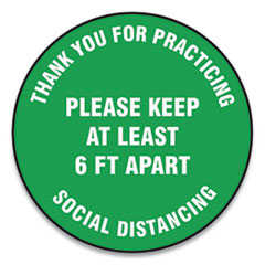 "Accuform® Slip-Gard Floor Signs, 12"" Circle, ""Thank You For Practicing Social Distancing Please Keep At Least 6 ft Apart"", Green, 25/PK"