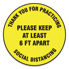 "Accuform® Slip-Gard Floor Signs, 12"" Circle,""Thank You For Practicing Social Distancing Please Keep At Least 6 ft Apart"", Yellow, 25/PK"