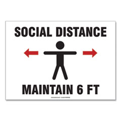 "Accuform® Social Distance Signs, Wall, 10 x 7, ""Social Distance Maintain 6 ft"", Human/Arrows, White, 10/Pack"