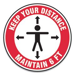 "Accuform® Slip-Gard Social Distance Floor Signs, 17"" Circle, ""Keep Your Distance Maintain 6 ft"", Human/Arrows, Red/White, 25/Pack"