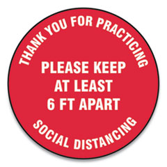 "Accuform® Slip-Gard Floor Signs, 12"" Circle, ""Thank You For Practicing Social Distancing Please Keep At Least 6 ft Apart"", Red, 25/Pack"