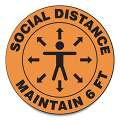 "Accuform® Slip-Gard Social Distance Floor Signs, 12"" Circle, ""Social Distance Maintain 6 ft"", Human/Arrows, Orange, 25/Pack"