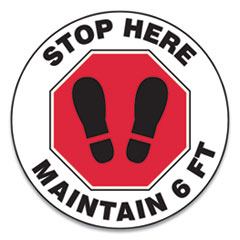 "Accuform® Slip-Gard Social Distance Floor Signs, 17"" Circle, ""Stop Here Maintain 6 ft"", Footprint, Red/White, 25/Pack"