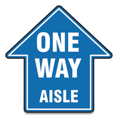 "Accuform® Slip-Gard Social Distance Floor Signs, 17 x 17, ""One Way Aisle"", Blue, 25/Pack"
