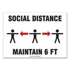 "Accuform® Social Distance Signs, Wall, 14 x 10, ""Social Distance Maintain 6 ft"", 3 Humans/Arrows, White, 10/Pack"