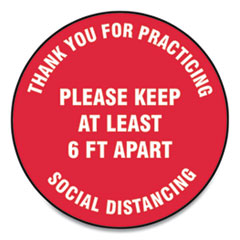 "Accuform® Slip-Gard Floor Signs, 17"" Circle, ""Thank You For Practicing Social Distancing Please Keep At Least 6 ft Apart"", Red, 25/Pack"