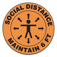 "Accuform® Slip-Gard Social Distance Floor Signs, 17"" Circle, ""Social Distance Maintain 6 ft"", Human/Arrows, Orange, 25/Pack"