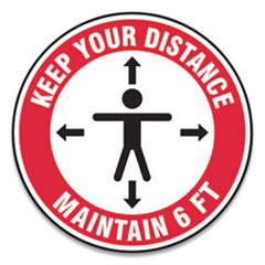 "Accuform® Slip-Gard Social Distance Floor Signs, 12"" Circle, ""Keep Your Distance Maintain 6 ft"", Human/Arrows, Red/White, 25/Pack"