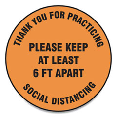 "Accuform® Slip-Gard Floor Signs, 12"" Circle,""Thank You For Practicing Social Distancing Please Keep At Least 6 ft Apart"", Orange, 25/PK"