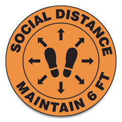"Accuform® Slip-Gard Social Distance Floor Signs, 12"" Circle, ""Social Distance Maintain 6 ft"", Footprint, Orange, 25/Pack"